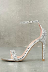 FITZ SILVER GLITTER ANKLE STRAP HEELS at Lulus.com!