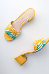 Jax Yellow Multi Print Mules at Lulus.com!