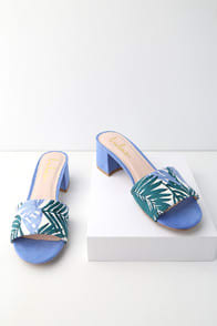 JAX BLUE MULTI PRINT MULES at Lulus.com!