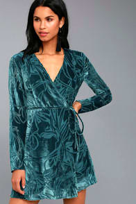 Modern Decadence Long Sleeve Teal Blue Velvet Wrap Dress at Lulus.com!