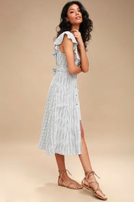 Lost + Wander Kika Grey Striped Button-Up Midi Dress at Lulus.com!