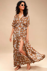 Faithfull the Brand Bergamo Brown Floral Print Wrap Maxi Dress at Lulus.com!