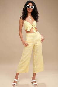 Faithfull the Brand Tomas Yellow Gingham Print Culottes at Lulus.com!