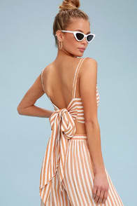 Faithfull the Brand Fortelina Nude Striped Tie-Back Crop Top at Lulus.com!