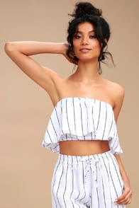 MALA NAVY BLUE AND WHITE STRIPED STRAPLESS CROP TOP at Lulus.com!