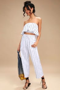 Faithfull the Brand Clemence Navy Blue and White Striped Culottes at Lulus.com!