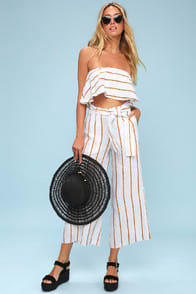 Faithfull the Brand Como Mustard Yellow and White Striped Culottes at Lulus.com!
