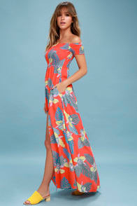 Patsy Coral Red Floral Print Off-the-Shoulder Dress at Lulus.com!
