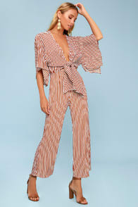 Tilos Rust Red Striped Tie-Front Jumpsuit at Lulus.com!