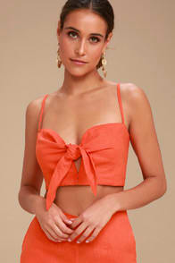 DE FIORI CORAL RED TIE-FRONT CROP TOP at Lulus.com!