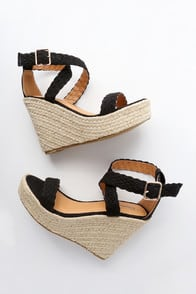 FRANCES BLACK SUEDE ESPADRILLE WEDGES at Lulus.com!