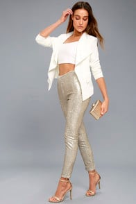 ENCORE SILVER AND LIGHT GOLD SEQUIN LEGGINGS at Lulus.com!