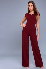 Goal-Getter Burgundy Short Sleeve Jumpsuit at Lulus.com!