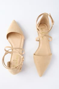 RAYNA NATURAL SUEDE POINTED FLATS at Lulus.com!