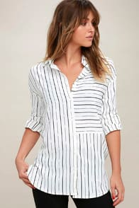 Well Worn Black and White Striped Button-Up Top at Lulus.com!