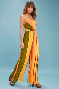 BEACH CLUB GOLDEN YELLOW STRIPED WIDE-LEG JUMPSUIT at Lulus.com!