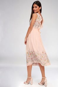 ASTR the Label Bristol Blush Pink Floral Print Midi Dress at Lulus.com!