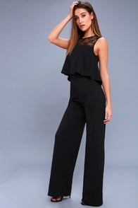 Hollywood Heights Black Lace Jumpsuit at Lulus.com!