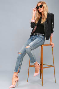Freebirds Light Wash Distressed Skinny Jeans at Lulus.com!