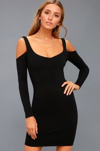 DIMITRI BLACK COLD-SHOULDER BODYCON DRESS at Lulus.com!