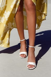 SHAYLA WHITE ANKLE STRAP HEELS at Lulus.com!
