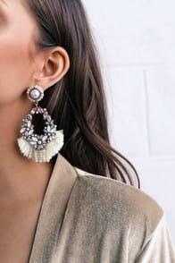Jana Gold and Iridescent Rhinestone Tassel Earrings at Lulus.com!