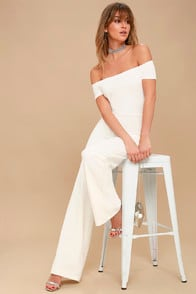 Alleyoop White Off-the-Shoulder Jumpsuit at Lulus.com!
