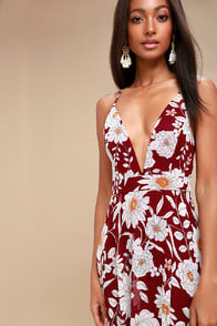 MAGIC BLOOMS BURGUNDY FLORAL PRINT BACKLESS MAXI DRESS at Lulus.com!