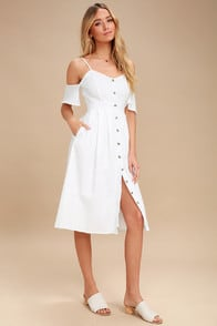 I've Got Love White Off-the-Shoulder Midi Dress at Lulus.com!