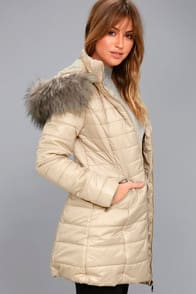 Stay Toasty Beige Hooded Midi Puffer Coat at Lulus.com!
