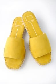 BOBBI YELLOW SUEDE LEATHER ESPADRILLE SLIDES at Lulus.com!