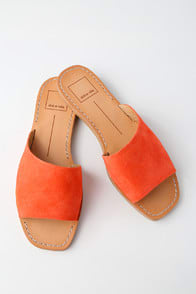 CATO ORANGE SUEDE LEATHER SLIDE SANDALS at Lulus.com!
