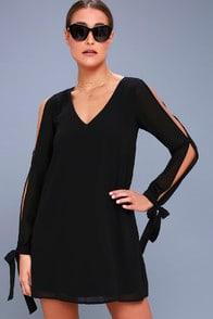 First Date Black Long Sleeve Shift Dress at Lulus.com!