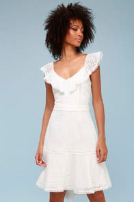 Parker White Eyelet Trumpet Midi Dress at Lulus.com!