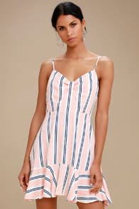 BB Dakota Hollie White Striped Sleeveless Dress at Lulus.com!