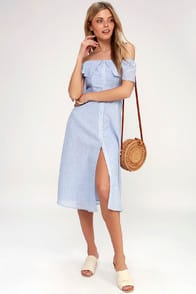 Jeanne Blue and White Striped Off-the-Shoulder Midi Dress at Lulus.com!