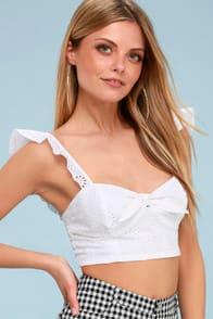 BB Dakota Corinne White Eyelet Tie-Front Bralette at Lulus.com!