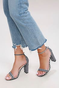 Taylor Black Gingham Ankle Strap Heels at Lulus.com!