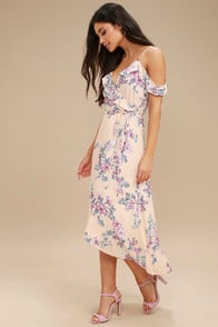 Bouquet Blooms Cream Floral Print Off-the-Shoulder Wrap Dress at Lulus.com!
