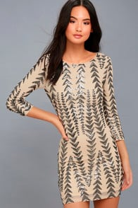 SHINE ON ME NUDE AND GUNMETAL SEQUIN BODYCON DRESS at Lulus.com!