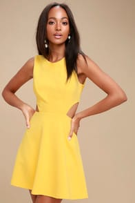 Toast to You Yellow Cutout Skater Dress at Lulus.com!