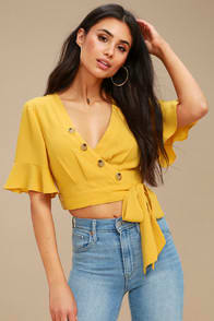 Envie Mustard Yellow Wrap Crop Top at Lulus.com!