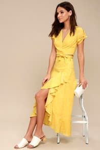 Girl Like You Yellow Polka Dot Two-Piece Maxi Dress at Lulus.com!