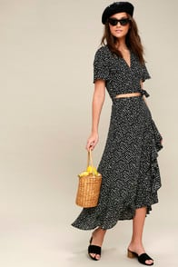 Girl Like You Black Polka Dot Two-Piece Maxi Dress at Lulus.com!