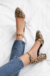 Ellarose Camel Leopard Suede Ankle Strap Heels at Lulus.com!