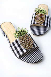 CRIZMA BLACK AND WHITE GINGHAM RHINESTONE SLIDE SANDALS at Lulus.com!