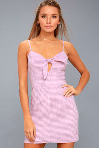 Music City White and Lavender Gingham Tie-Front Dress at Lulus.com!