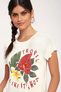 Tropical Heartache White Cropped Tee at Lulus.com!