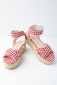 Zala Red and White Gingham Espadrille Flatform Sandals at Lulus.com!