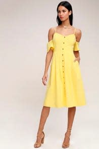 I've Got Love Yellow Off-the-Shoulder Midi Dress at Lulus.com!